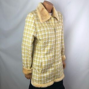 Scorpio USA yellow tweed zip up faux fur jacket L